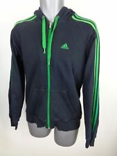 MENS ADIDAS BLACK/GREEN CONTRAST LONG SLEEVED ZIP UP HOODIE JUMPER SIZE S SMALL
