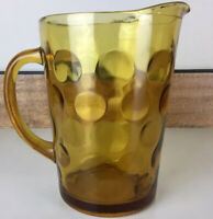 Vintage Amber Glass Water Pitcher Dimpled Coin Dot 9""