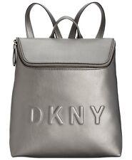 DKNY Tilly Gray Backpack Gunmetal Top-Zip Embossed Logo Bucket Bag