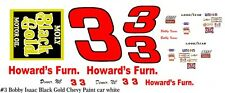 #3 Bobby Isaac Black Gold Chevy 1975 1/32nd Scale Slot Car Decals
