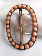 RARE MID VICTORIAN STERLING SILVER & CORAL OVAL BELT/ SASH BUCKLE