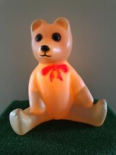 """Vintage Union 18"""" Lighted Blow Mold Bear with Red Bow Yard Decoration #B"""