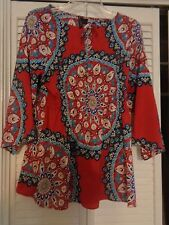 ladies M. Blouse by Apollo/ deep rose colored backgroun, 100 poly A+ condition