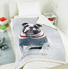 Photographic Bulldog Animal Sofa Blanket Throw Throwover Fleece Multi