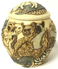 Jardinia Cats Galore Embossed Resin Jar With Box Martin Perry Studios