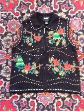 Designers Original Trees Fences Pines Christmas Sweater Vest XL Not Ugly EUC