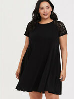 Torrid Black Lace Studio Knit Trapeze Dress 4  4X  26 Womens Plus Keyhole Back