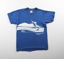 Vintage 80s Hawaii Marlin Jumping Kona Poly Tees T-Shirt All Cotton Sz Medium