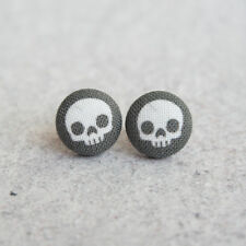 Black Skulls Fabric Button Earrings