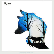 Temporary Watercolor Waterproof Tattoo Blue Black Lonely Wolf Lycos Forest Woods