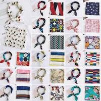 Small Vintage Hair Band Women Square Scarf Handkerchief Bandana Silk Feel Satin@