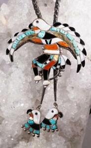 Vintage ZUNI Dancing Eagle Bolo Tie Multi-Stone Inlay