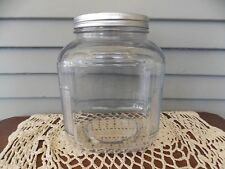Vintage Hoosier Square Clear Glass Jar Ribbed Corners Canister Silver Metal Lid