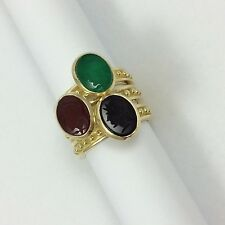 RED CARNELIAN, GREEN AGATE, BLACK ONYX ROMAN SOLDIERS 18K GOLD 3 STACKABLE RINGS