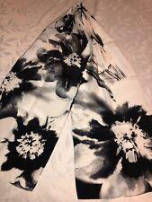 Jones New York Floral Black & White Silk Scarf