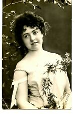 Pretty Girl-Off the Shoulder Dress-Flowers-RPPC-1906 Vintage Real Photo Postcard