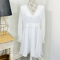 Showpo A-Line Dress White Long Balloon Sleeve Races Cocktail Size 16 NWOT