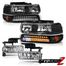 99-02 Silverado 00-06 Suburban Tahoe Black LED Signal Bumper+Headlight+Fog Light