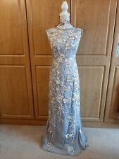 Sensational Adrianna Papell Embroidered Maxi Dress In Steel Grey Size 18/20 BNWT