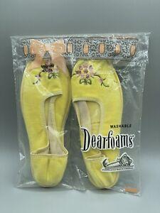 Vintage Dearfoams Women Slippers NIP 6.5-7.5 Yellow Pink Embroidered Flower