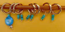 Stitch marker, knitting 6+1 ,  turquoise and shell  Beads -- turquoise