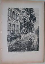 1936 MILANO CASA VISCONTI PONTE GIREVOLE NAVIGLIO Litografia Annibale Belli
