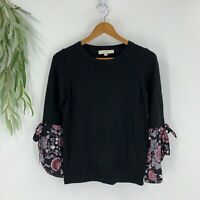 Ann Taylor Loft Womens Top Sweater Size XS Black Knit Long Bell Sleeve Shirt