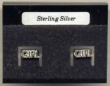 GIRL Sterling Silver 925 Studs Earrings Carded