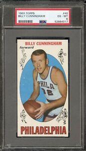 1969 Topps Basketball #40 Billy Cunningham RC PSA EX-MT 6 - Philadelphia 76ers
