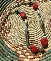 #741 WOW Necklace Vintage 1980s Navajo Silver Big Bench Beads, Turquoise, Coral