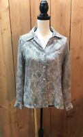 Josephine Chaus Blouse Snake Skin Print Top Women's Shirt Size 4 Long Sleeve