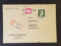 1942 Danzig to Tangermünde Germany Holtz & Giebeler Advertising Registered Cover