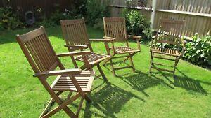 Royalcraft Set of 4 Fold Up Teak Garden Chairs