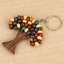 Wooden Tree of Life Keyring Keychain Painted Multi-Colour Beads Boho Accessory