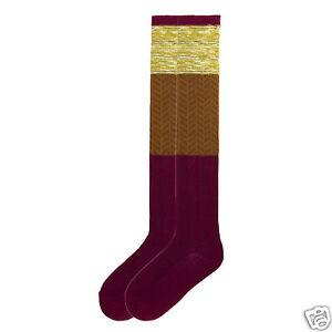 K.Bell Color Blocking Over The Knee Sock Womens Ladies Beet Red Rust Brown New