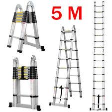 5m 16.4ft Heavy Duty Multi Purpose Aluminum Folding Telescopic Ladder Frame Step