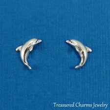 925 Sterling Silver Post Dolphin Earrings - Ocean Sea Marine Stud Earrings NEW