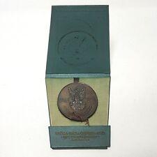 """Aus Nachlass Bronze Medaille Gedenkplakette Polen """"Offizier"""" ca. 6 cm mit Box"""