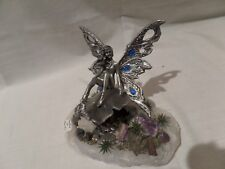 Fantasy< Mythical & Magic-Fine Pewter Fairy Sitting On A Block Of Quartz