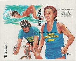 Redonda-Part of Antigua. Unissued $5 Mini Sheet Triathlete John duPont. U/M R147