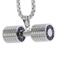 FIT DUMBBELL Necklace Fitness Jewelry Charm 316L Stainess Steel Pendant Necklace