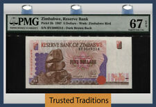 Tt Pk 5b 1997 Zimbabwe Reserve Bank 5 Dollars Pmg 67 Epq Superb Tied As Best!