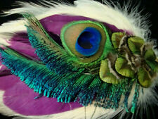 1 Ivory - Berry - Peacock - Special Design Rooster Feather Pad