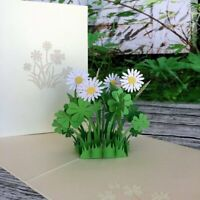 Handmade White Daisy Clover 3D Pop Up Card Birthday Get Well Good Luck Thank You