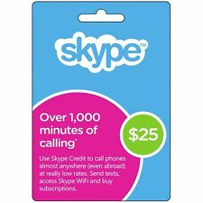 Skype Credit Upto 1000 Minutes Voucher Worth $25 Email/Message INSTANT DELIVERY
