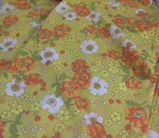"""Vtg Fruit of the Loom Flower Power King Sheet Cutter Fabric Floral 106 x 104"""""""