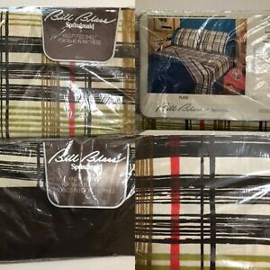 NIP Vintage Springmaid Bill Blass PLAID King FLAT & FITTED Sheet Set SEALED LOT