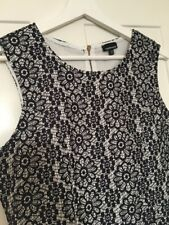 Ladies WAREHOUSE white Navy Embroidered Lace Structured Skater Dress Size 14 VGC
