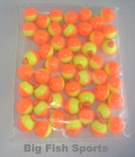 "50 FISHING BOBBERS Round Floats 1"" ORANGE/YELLOW SNAP ON FREE US SHIP #07122-002"