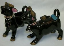 Vintage Redware Pottery Black Cows with Bells Hand Painted Cream & Sugar Set